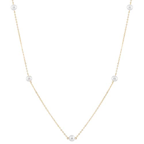 14K Yellow Gold Cultured Freshwater Pearl Tin Cup Chain Necklace Jewelry for Women 18