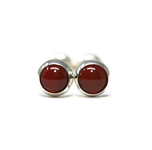 Carnelian and Polished Sterling Silver 5mm Stud Earrings
