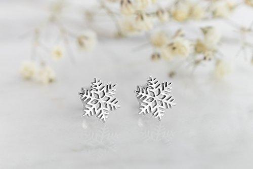 Gold Snowflake Earrings, 9K, 14K, 18K Gold Earrings, White Gold Snowflake Studs, Gold Holiday Studs, Christmas Gift For Her by Tales In Gold