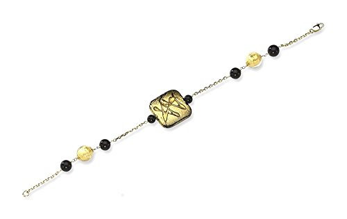 ICE CARATS 14k Yellow Gold Murano Glass Bead Black Onyx Bracelet 7.25 Inch Gemstone Fancy Natural Stone/ Wood Fine Jewelry Gift Set For Women Heart by ICE CARATS