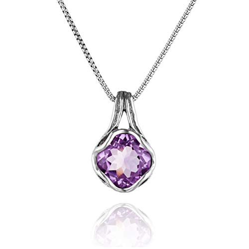 (PAZ Creations .925 Sterling Silver Solitaire Amethyst Pendant Necklace)