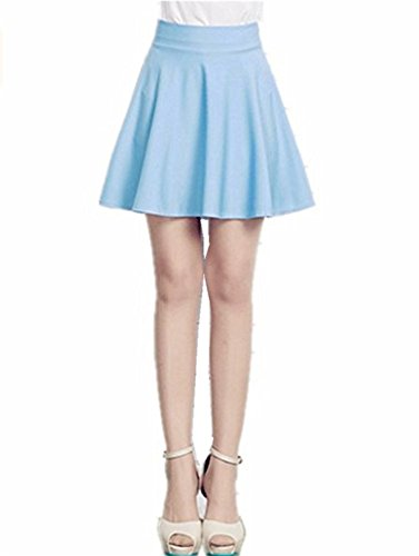 Mullsan Women Fashion Jersey Knit Flared A-Line Mini Skater Circle Skirt w/ Safety Shorts (Light Blue)