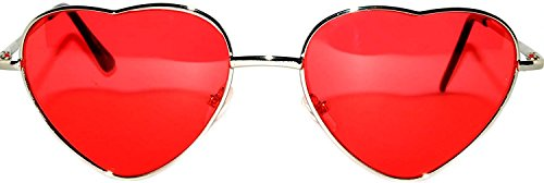 New Style Heart Shaped Silver Metal Frame Aviator Red Lens Sunglasses (Daughter Heart Silver Frame)