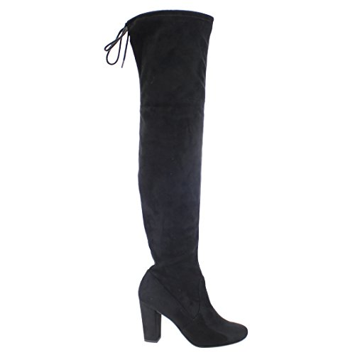 Delicious Womens Faux Suede Back Tie Over the Knee Chunky High Heel Dress Boot Black Faux Suede uzm6w