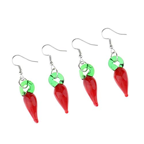 (2 Pairs Lampwork Glass Chili Pepper Dangle Earring Statement Earring Jewelry)