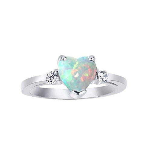 (CloseoutWarehouse White Simulated Opal Cubic Zirconia Heart Ring Sterling Silver Size 8)