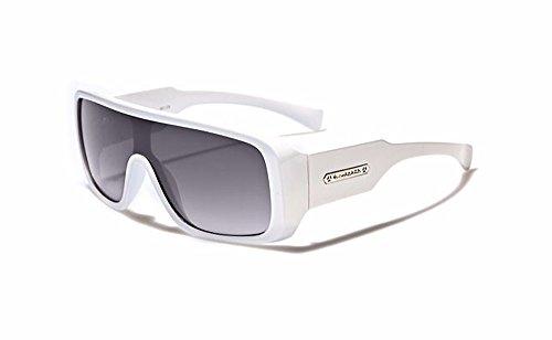 Biohazard Large Shield Mens Futuristic Goggle Style Designer Celebrity Sunglasses, White, Smoke