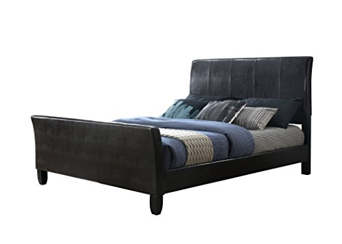 Queen Leather Sleigh - Furniture World Degas Upholstered Sleigh Bed, Queen, Black