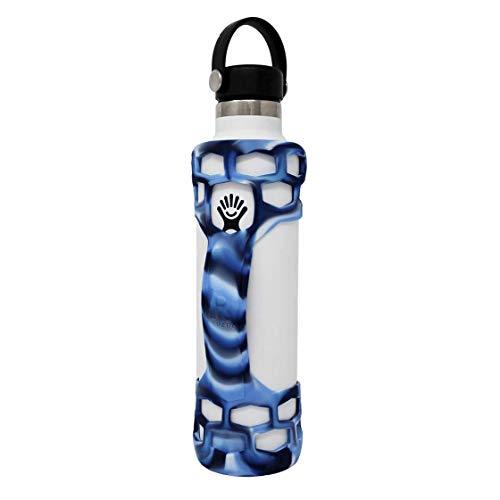 REUZBL Bottle Bumper Silicone Sleeve Protector with Handle for Hydro Flask 21oz 24oz 32oz 40oz (Camo Blue, 24oz)