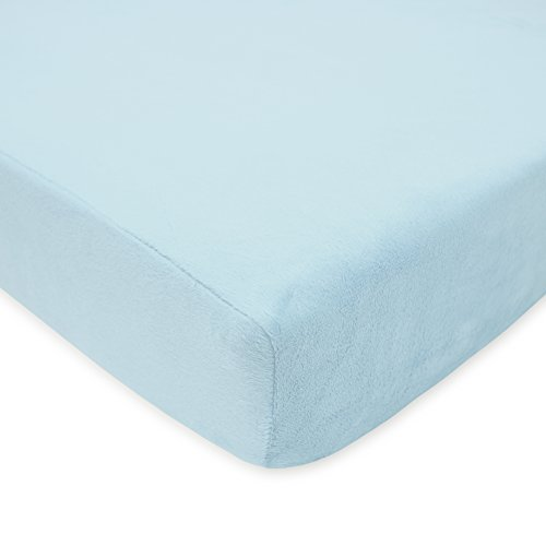 TL Care Heavenly Soft Chenille Fitted Crib Sheet for Standard Crib and Toddler Mattresses, Blue,28 x 52, for Boys and Girls
