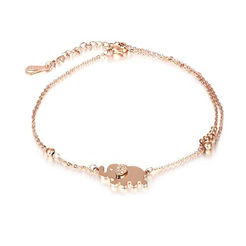 QJLE Girl Women Anklet 18K Gold Plasted Stainless Steel Chain Foot Anklet Bracelet Jewelry Gift (Elephant) ()
