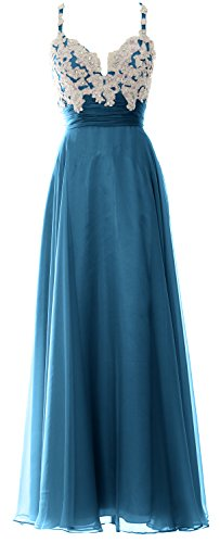 MACloth Women Straps Sweetheart Lace Chiffon Long Prom Dress Formal Evening Gown Teal