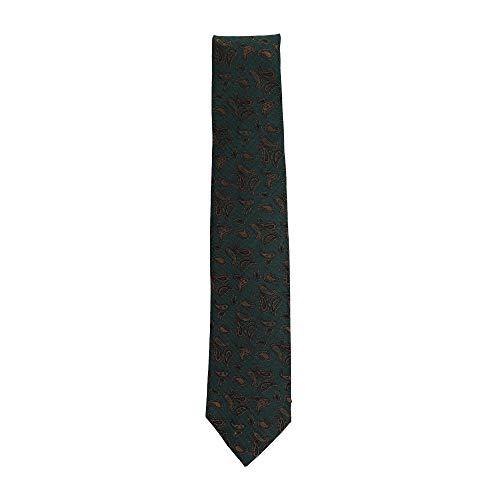 Isaia Napoli Men's Green Gold Silk Blend Paisley Pattern 7 Fold Tie $235 NWT ()