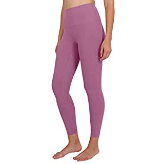 90 Degree By Reflex Ankle Length High Waist Power Flex Leggings - 7/8 Tummy Control Yoga Pants - French Pink - Large