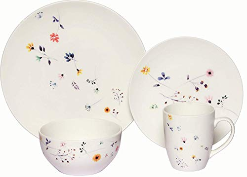 Melange Coupe 32 Piece Porcelain Dinner Set | Spring Flowers Collection | Service for 8 | Microwave, Dishwasher & Oven Safe | Dinner Plate, Salad Plate, Soup Bowl & Mug (8 Each)
