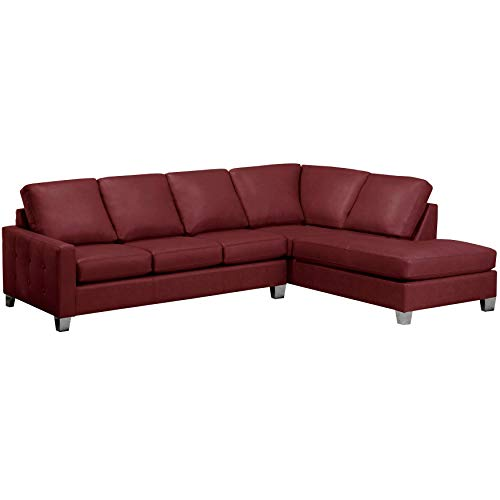 Sofaweb.com Dean Premium Top Grain Italian Leather Tufted Sectional Sofa Maroon Red