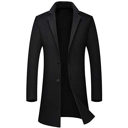 Pie Doble Cobertura Hombre Otoño Lana Abrigo Black De Elegante Invierno E Cálido Cara Negocios Collar Abrigos ROxtqW