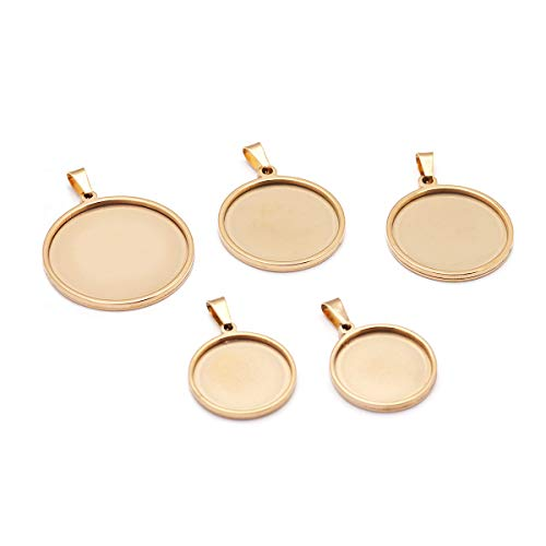 Forise 5pcs Pendant Trays Gold Round Cabochon Settings Trays Pendant Blanks 3 Different Size Fit for DIY Crafting Photo Jewelry Making Pendant (Gold)