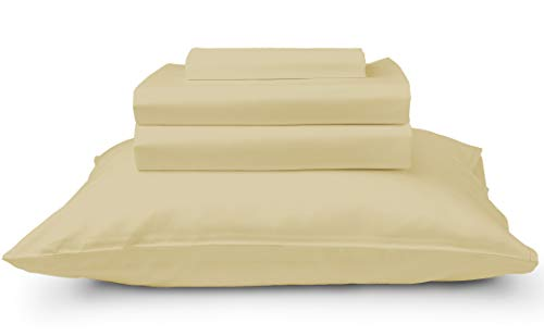 California Cotton Club, 600 Thread Count Bed Sheets Set, 100% Cotton, Hotel Quality Luxury Soft Fits Mattress Upto 17 inch Deep Pockets, 4 Piece Sheets and Pillowcases, (Queen Sheets, Glam Gold) from California Cotton Club