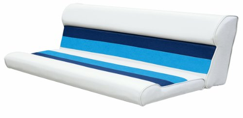 - Wise 55-Inch Cushion Only Pontoon Bench Seat, White/Navy/Blue