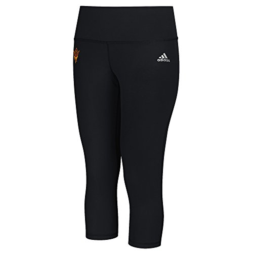 adidas NCAA Arizona State Sun Devils Logo Performer Climalite Mid Rise 3/4 Tight Pants, XX-Large, Black
