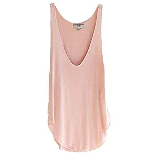 Blackobe Summer Woman Lady Sleeveless V-Neck Candy Vest Loose Tank Tops (Pink)