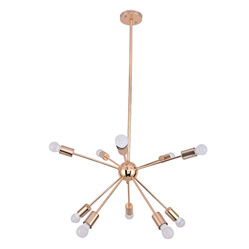 Clearance Sale!DEESEE(TM)Ten-Light Sputnik Chandelier Brushed Brass Modern Pendant Lighting Gold