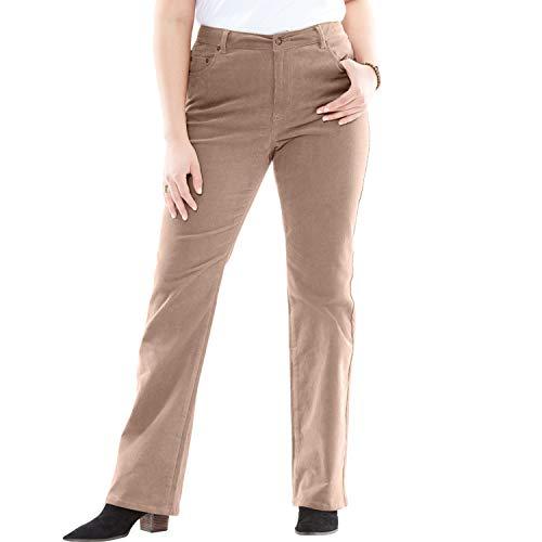 (Woman Within Women's Plus Size Petite Stretch Corduroy Bootcut Jean - Almond Taupe, 22 WP)