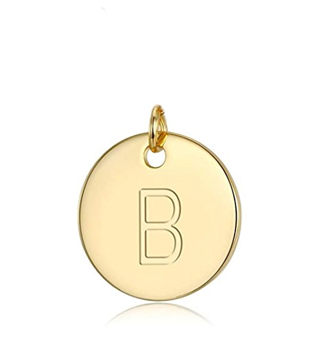 Initial Disc Letter B Charm Pendant Personalize Your Jewelry Gift | 14k Gold Plated SLP1-2 ()