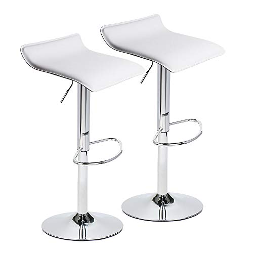 Adjustable Swivel Barstools, PU Leather with Chrome Base, Counter Height Hydraulic Pub Kitchen Counter Chairs,Set of Two,2 white (White Stools)