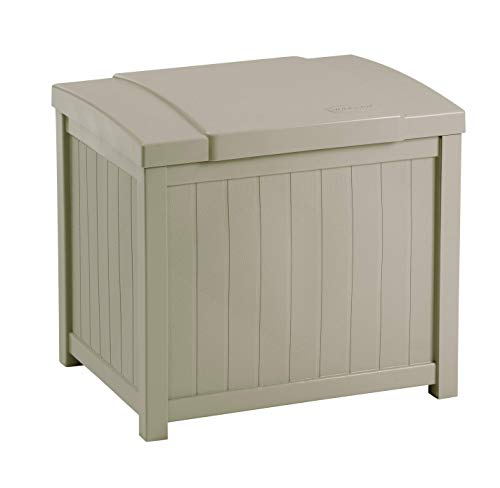 Suncast Resin Patio Storage Box - Outdoor Bin Stores Tools, Accessories and Toys - Taupe