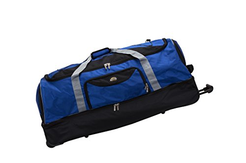 Cheap Rockland Unisex-Adult Drop Bottom Rolling Duffel Bag, Navy 40 inch rolling duffle bag