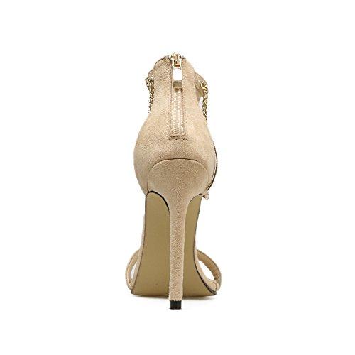 Cadena Correa W4 De Borla Fiesta Tacón Zapatos KJJDE Stiletto Baile GZSL Mujer Alta Sandalias Clásica 760 Sexy apricot Hueco Tobillo Plataforma 4Y7w70