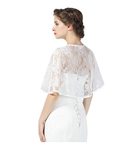 (Lace Cape Wedding Capelet Women Shawl Bridal Cover Up Wrap Bolero for Dress Party Off White )