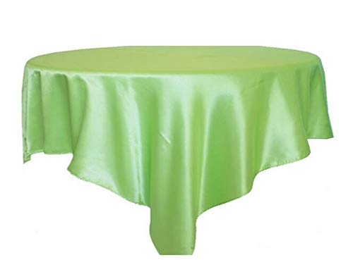 1pcs 145x145cm Black Satin Tablecloth Double Stitched Edge Table Cloth Overlay for Wedding Home Christmas Party Table Decoration,Light Green,71x71inch-180x180cm