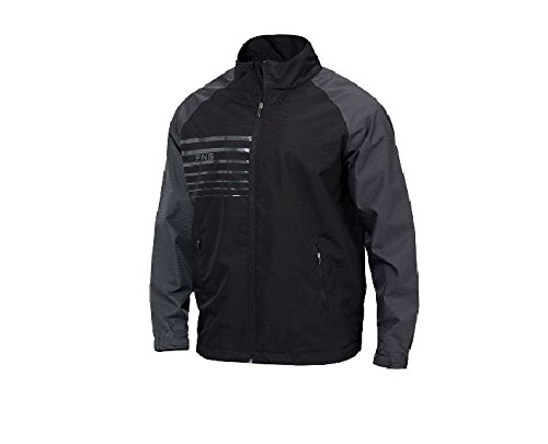 Ping Apparel Mens Long Sleeve OFFSET Golf Jacket (X-Large, Black w/Forged Iron)