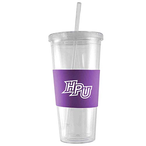High Point University-24 oz. Acrylic Tumbler- Engraved Silicone Sleeve-Purple