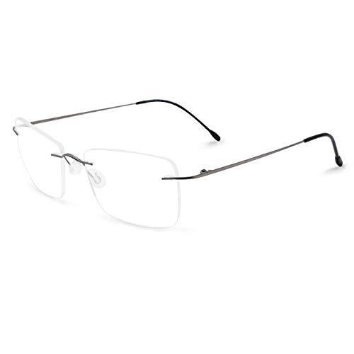 (OCCI CHIARI Titanium Rimless Glasses Frame RX Eyewear Men Eyeglasses Hinge Thin)