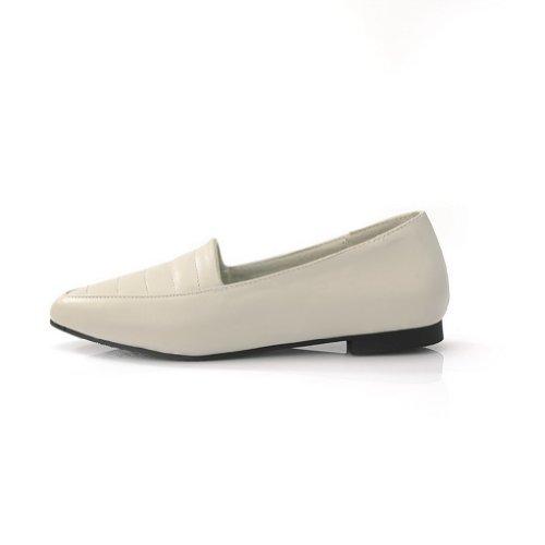 AmoonyFashion Womens Closed Pointed Toe PU Soft Material Solid Flats Beige 89Qog1VQ