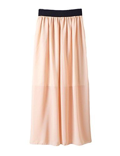 Legou Femme Jupe Longue Taille Haute pliss Beige