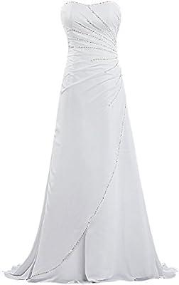 Unbranded* Women's Strapless Beach Wedding Dresses Bead Chiffon Bridal Gown