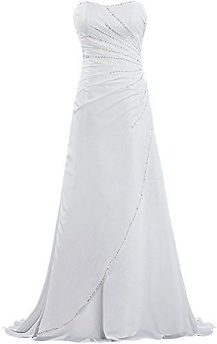 Unbranded* Women's Strapless Beach Wedding Dresses Bead Chiffon Bridal Gown Size 16 US White (Strapless Dresses Informal Wedding)