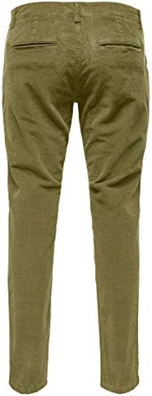Only & SONS męskie spodnie Cord (Onstarp Corduroy Pk 4194), kolor: Kangur , rozmiar: 33W / 34L: Odzież