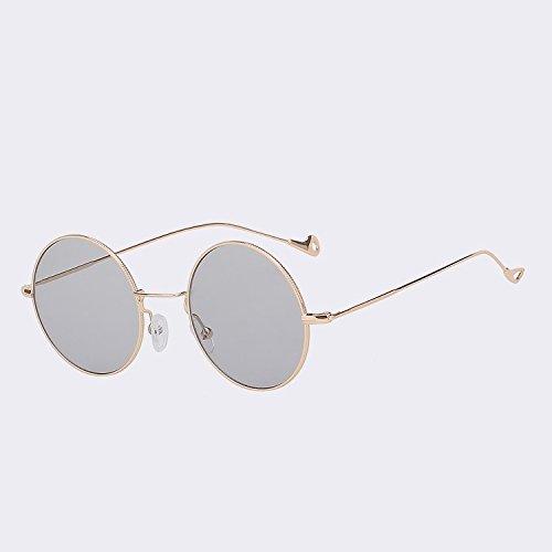 Gold redonda sol de color de moda Vintage TIANLIANG04 de de espalda rojo W mar Gafas UV400 Oro mujeres gafas w smoke Steampunk sol de mujeres mar gafas para fqntw54Z