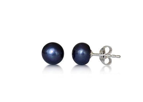 Perle d'eau douce cultivée boucle d'oreille dormeuse, perle naturelle, rond, violet foncé, 7-7.5mm, argent 925/1000