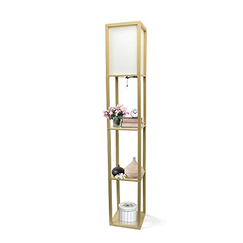 (Simple Designs Home LF1014-TAN Etagere Organizer Storage Shelf Linen Shade Floor Lamp, 63.30 x 10.20 x 10.20 inches, Tan)