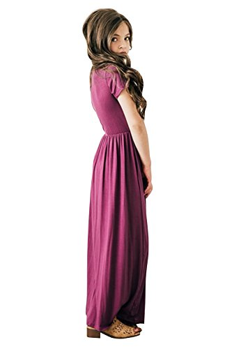 Foshow-Girls-Short-Sleeve-Maxi-Dress-Empire-Waist-Plain-Pleated-Swing-Dresses-with-Pockets