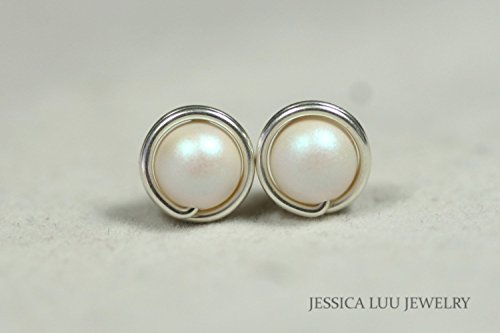 Mother of Pearl Stud Earrings Pearlescent White Swarovski Pearl Earrings Wire Wrapped Earrings Choice of Sterling Silver or Gold Filled