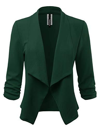 (Women's Stretch 3/4 Open Blazer Cardigan Jacket (CLBC001) D.Huntergreen S)