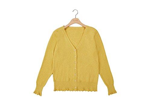 Kiyoi  カーディガン レディース スクールカーディガン 洗えるカーディガン  Vネックセーター スクール長袖セーター ボタンあり フリーサイズ